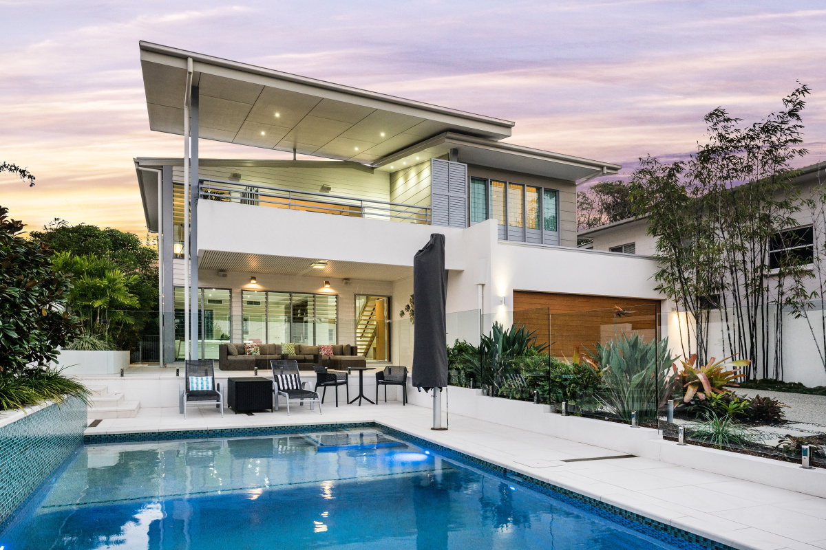 rear view of 31 Pacific Avenue and pool - Noosa Holiday Rentals