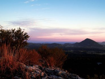 view of mount tinbeerwah at sunset